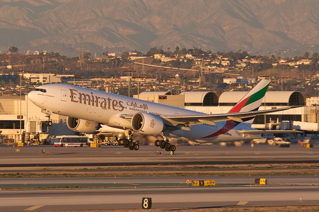 Emirates A6 EWA Boeing 777 200LR taking off from LAX to DXB