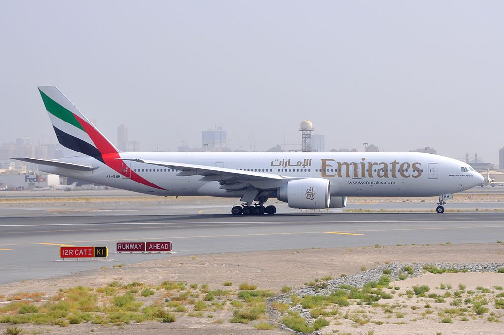 Emirates B777 200LR A6 EWH waiting for take off clearance at runway 12R at Dubai International Airport