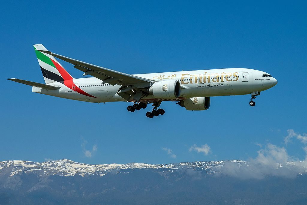 Emirates Boeing 777 200LR A6 EWI on final approach at Geneva International Airport