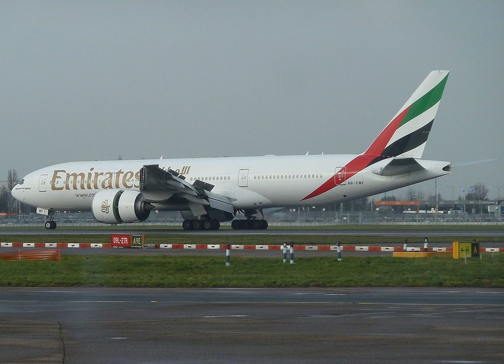 Emirates Boeing 777 200LR Registration A6 EWF arrival at London Heathrow Airport