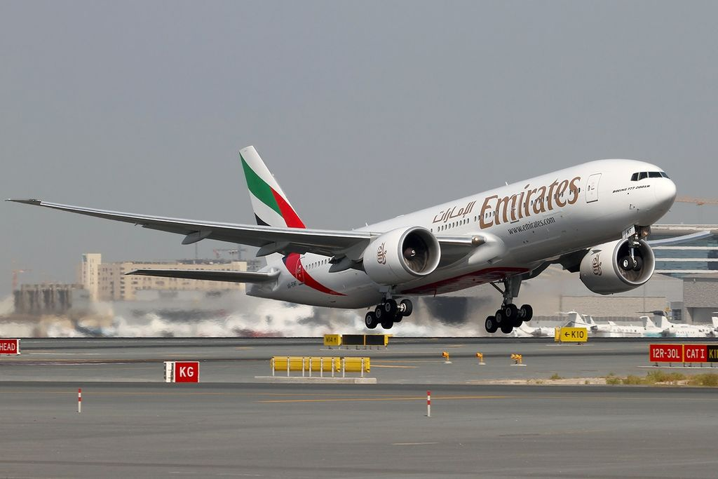 Emirates Boeing 777 200LR Registration A6 EWF at Dubai International DXB OMDB United Arab Emirates