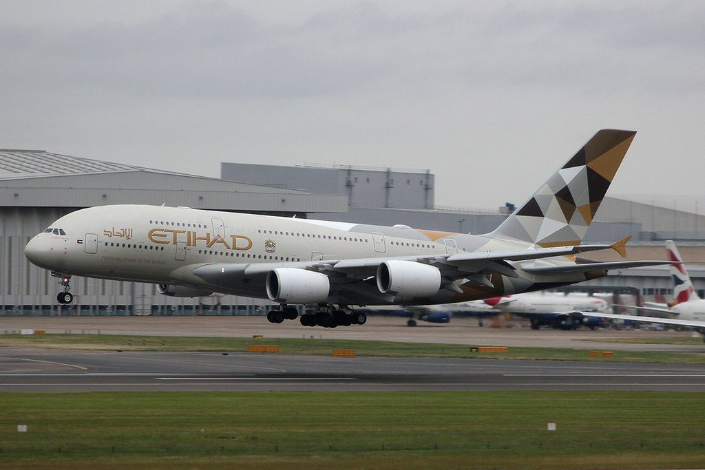 Etihad Airways A6 APD Airbus A380 800 landing at Heathrow Airport London