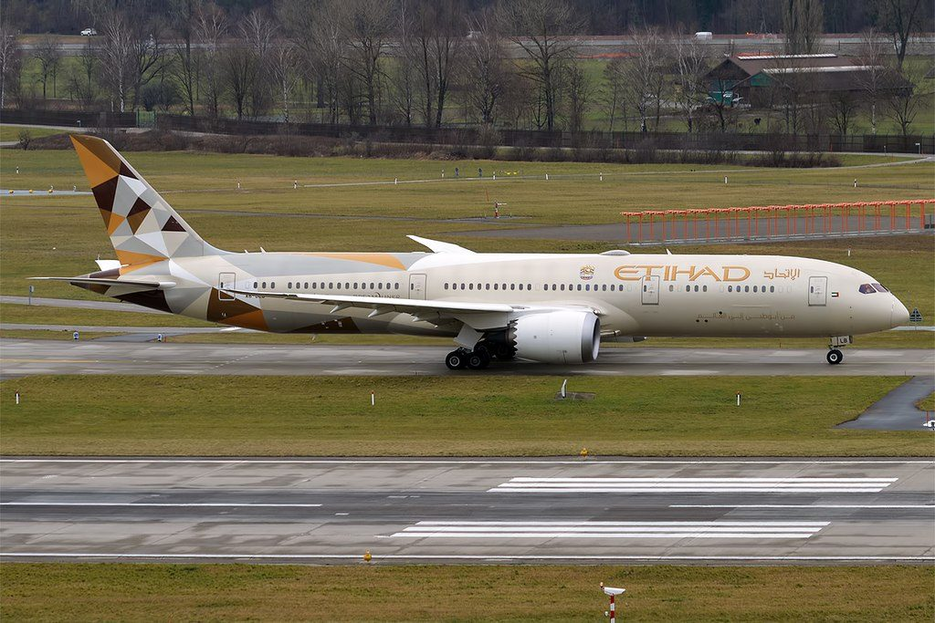 Etihad Airways A6 BLB Boeing 787 9 Dreamliner at Zurich International Airport