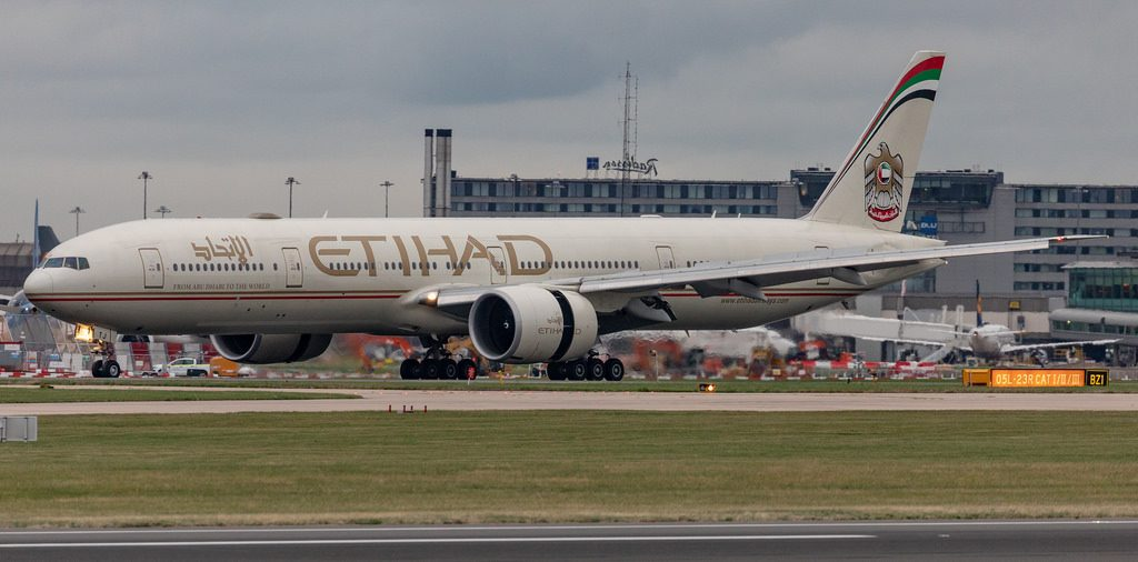 Etihad Airways A6 ETJ Boeing 777 300ER arrival at Manchester Airport