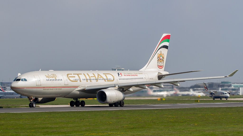 Etihad Airways Airbus A330 200 A6 EYG taxiing at Manchester Airport