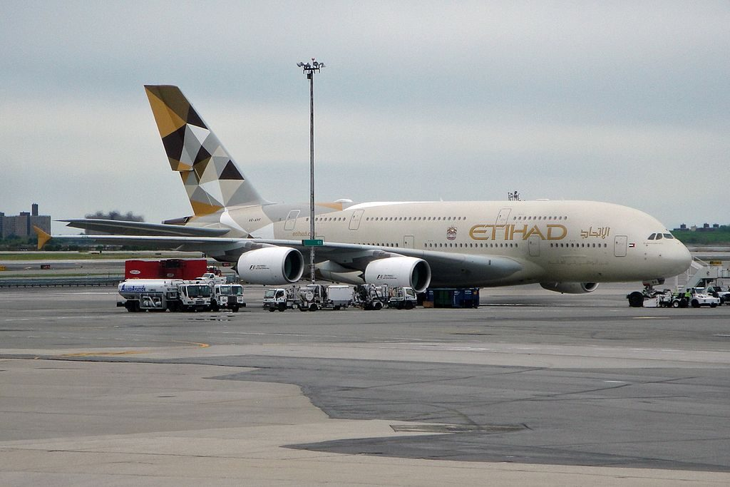 Etihad Airways Airbus A380 861 A6 APF at New York John F. Kennedy International