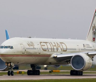 Etihad Airways Boeing 777 3FXER A6 ETQ at Manchester Airport