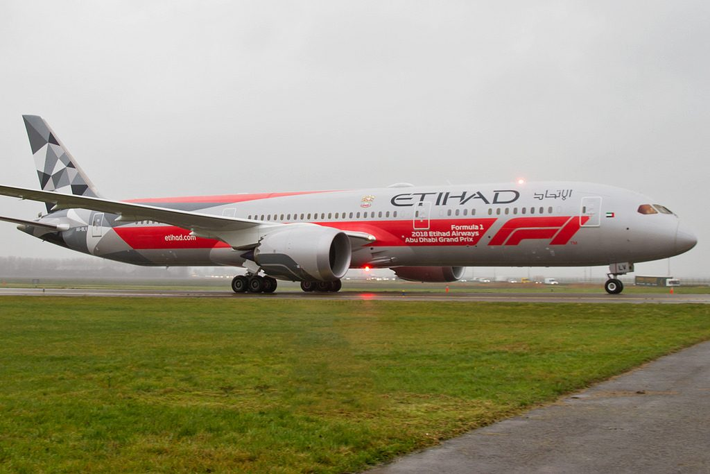 Etihad Airways Boeing 787 9 Dreamliner A6 BLV Abu Dhabi Grand Prix livery at Amsterdam Schiphol Airport