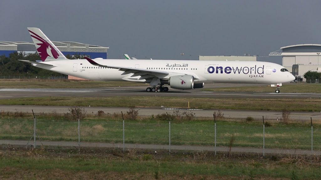 Line up and takeoff Airbus A350 1000 Qatar One World Livery A7 ANE