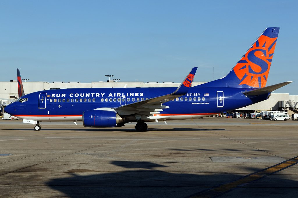 N711SY Boeing 737 73VWL Sun Country Airlines at Hartsfield–Jackson Atlanta International Airport departing for KIFP Bullhead City Laughlin NV