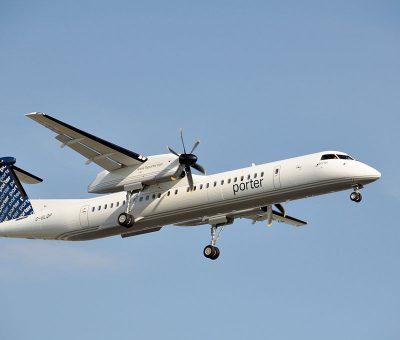 Porter Airlines Bombardier Dash 8 Q400 C GLQP landing at Montréal Pierre Elliott Trudeau International Airport YUL