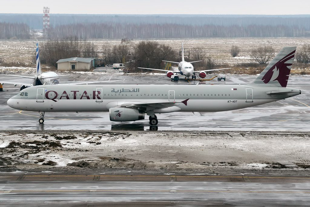 Qatar Airways A7 ADT Airbus A321 231 taxiing at Domodedovo International Airport