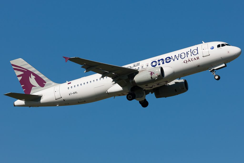 Qatar Airways A7 AHL Airbus A320 200 on special ONEWORLD livery colors
