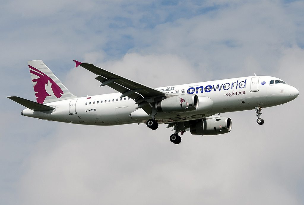 Qatar Airways A7 AHO Airbus A320 200 oneworld special livery at Kathmandu Tribhuvan International