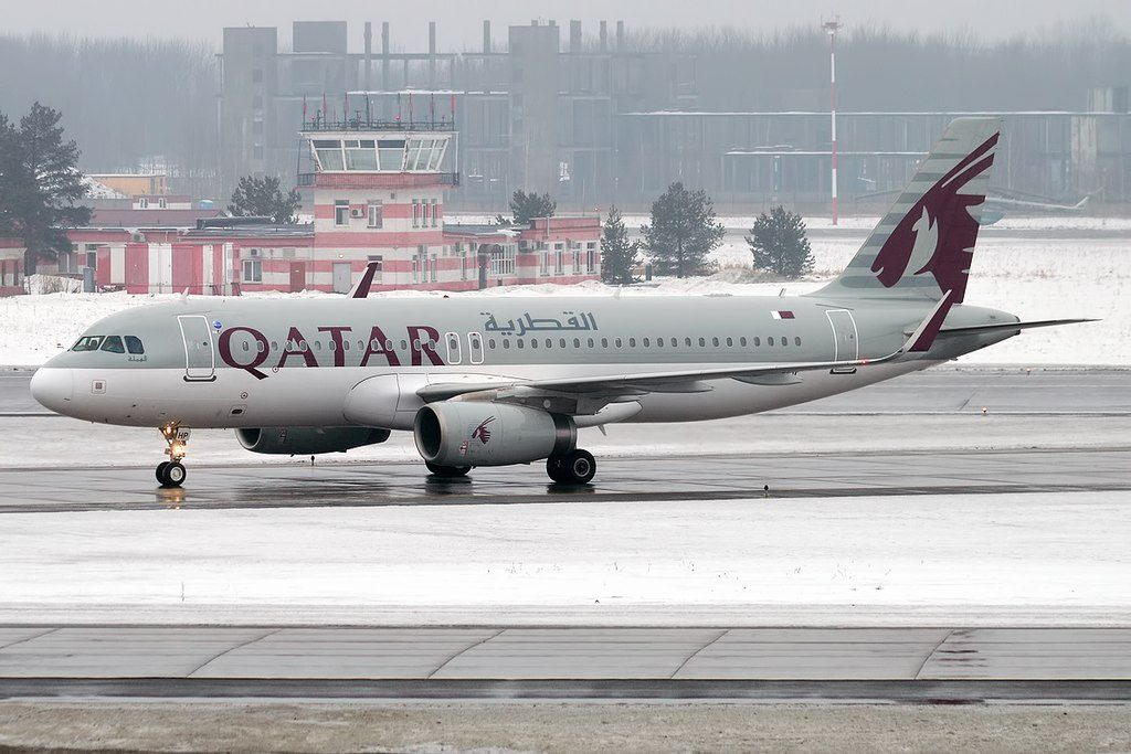 Qatar Airways A7 AHP Airbus A320 232 at Pulkovo Airport
