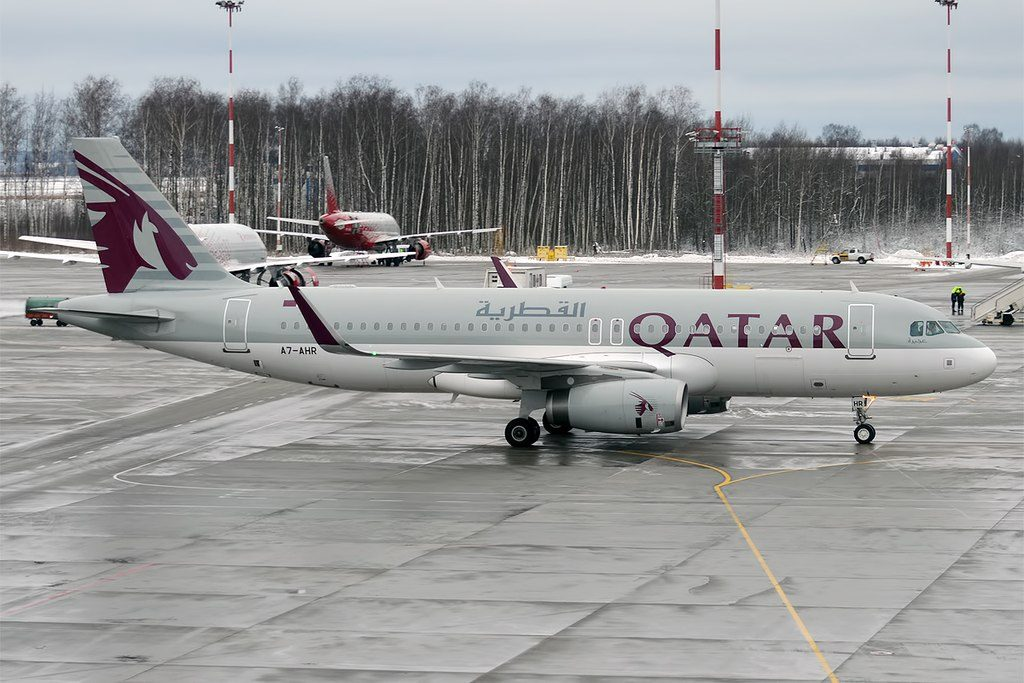Qatar Airways A7 AHR Airbus A320 232 at Pulkovo Airport