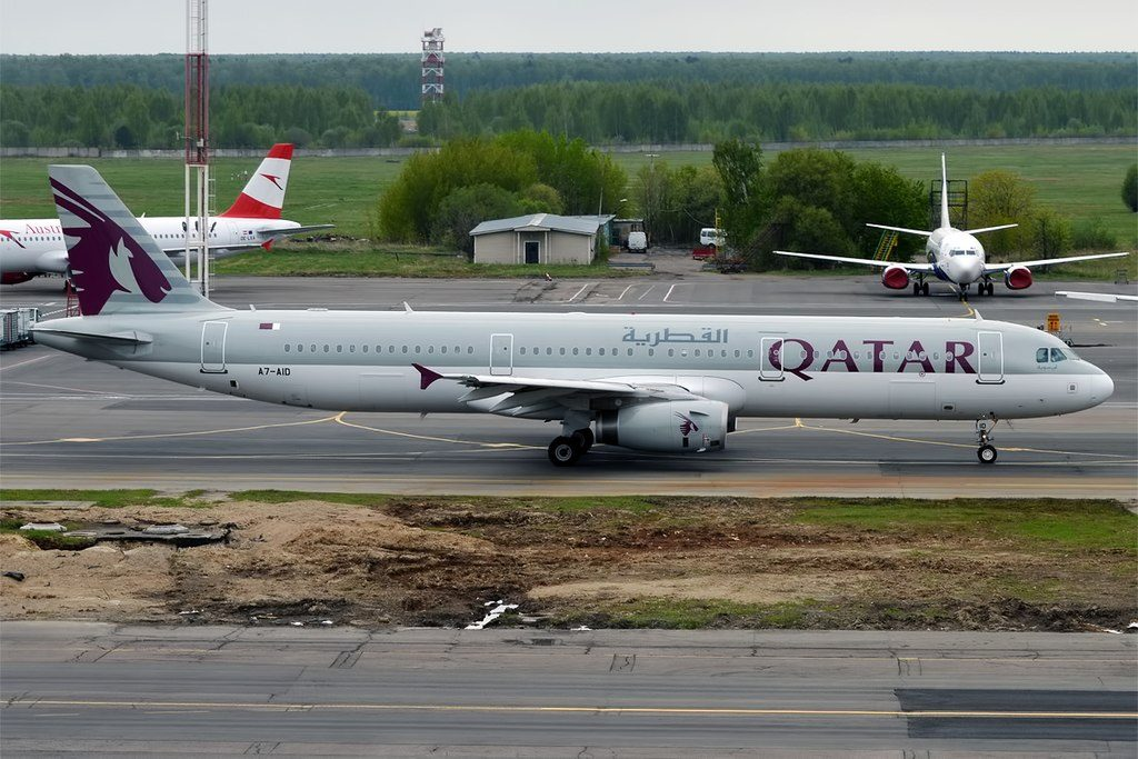 Qatar Airways A7 AID Airbus A321 231 taxiing at Domodedovo International Airport