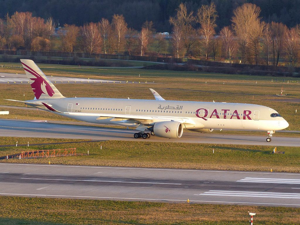 Qatar Airways A7 ALC Airbus A350 900 at Zurich International Airport