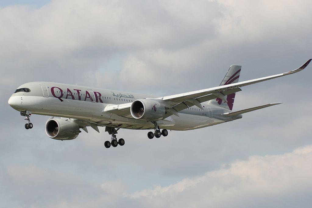 Qatar Airways A7 ALI Airbus A350 941 on final approach at London Heathrow Airport