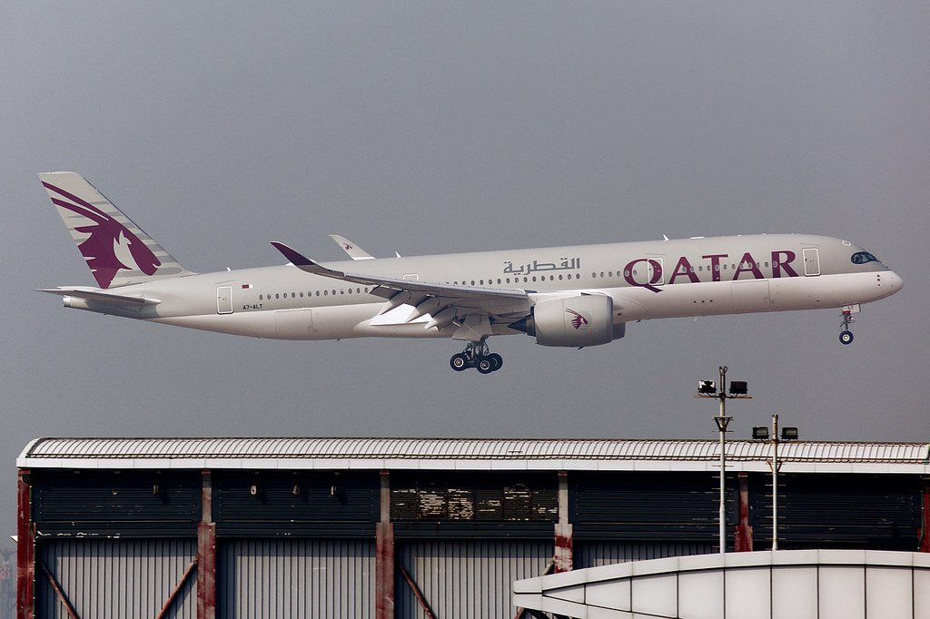 Qatar Airways A7 ALT Airbus A350 900 was approaching to the runway 07L at Hong Kong International Airport