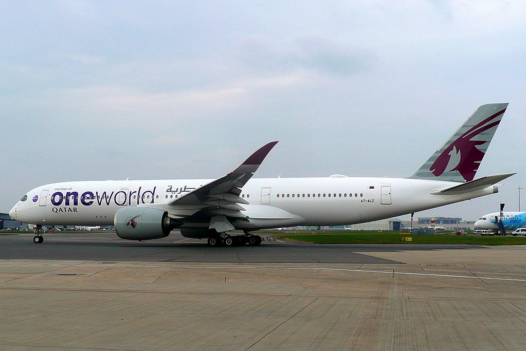 Qatar Airways A7 ALZ Airbus A350 900 on OneWorld livery colors at Heathrow Airport