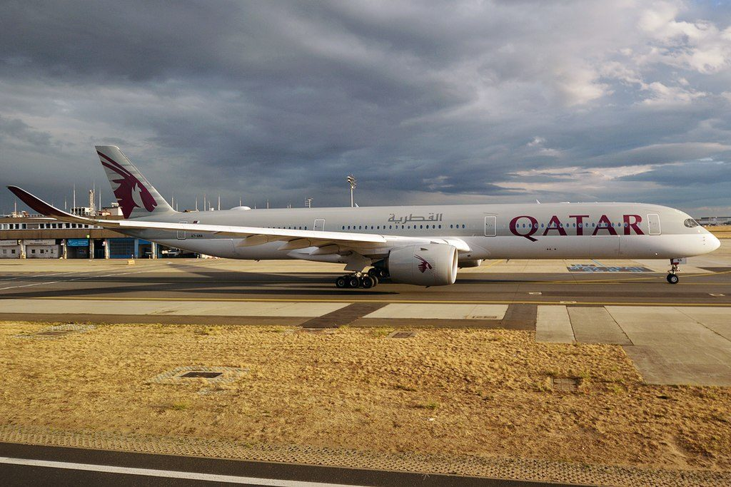 Qatar Airways A7 ANA Airbus A350 1041 at Frankfurt Airport