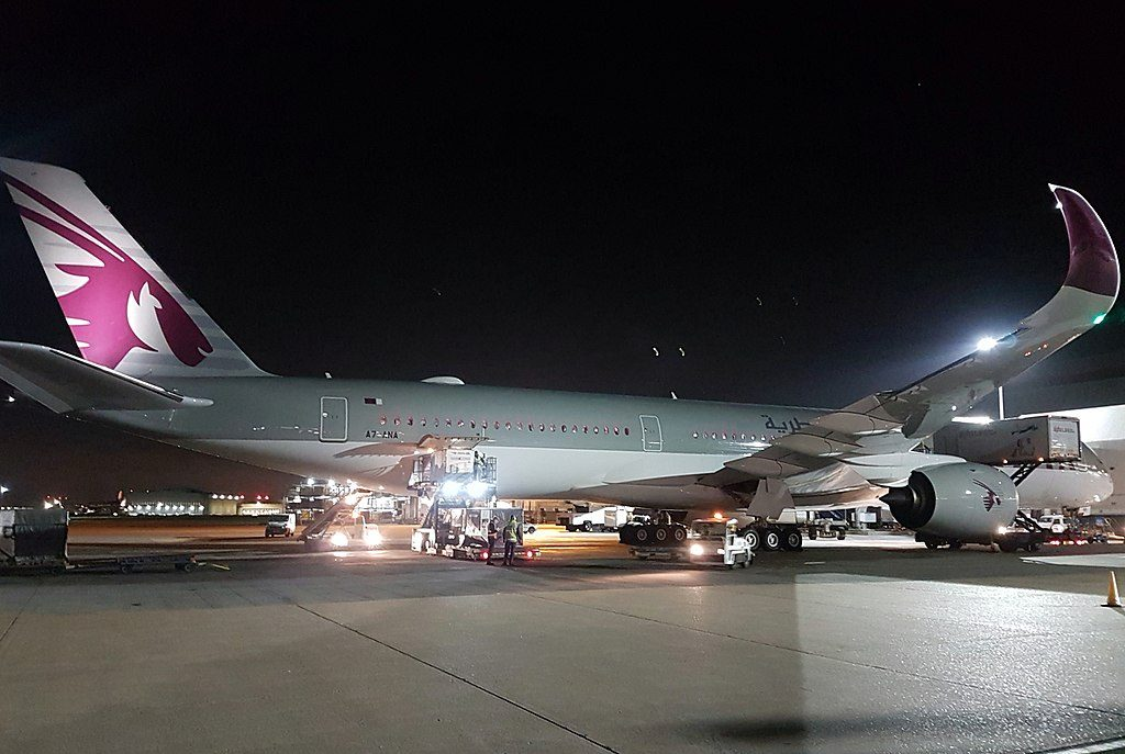 Qatar Airways A7 ANA Airbus A350 1041 at London Heathrow Airport