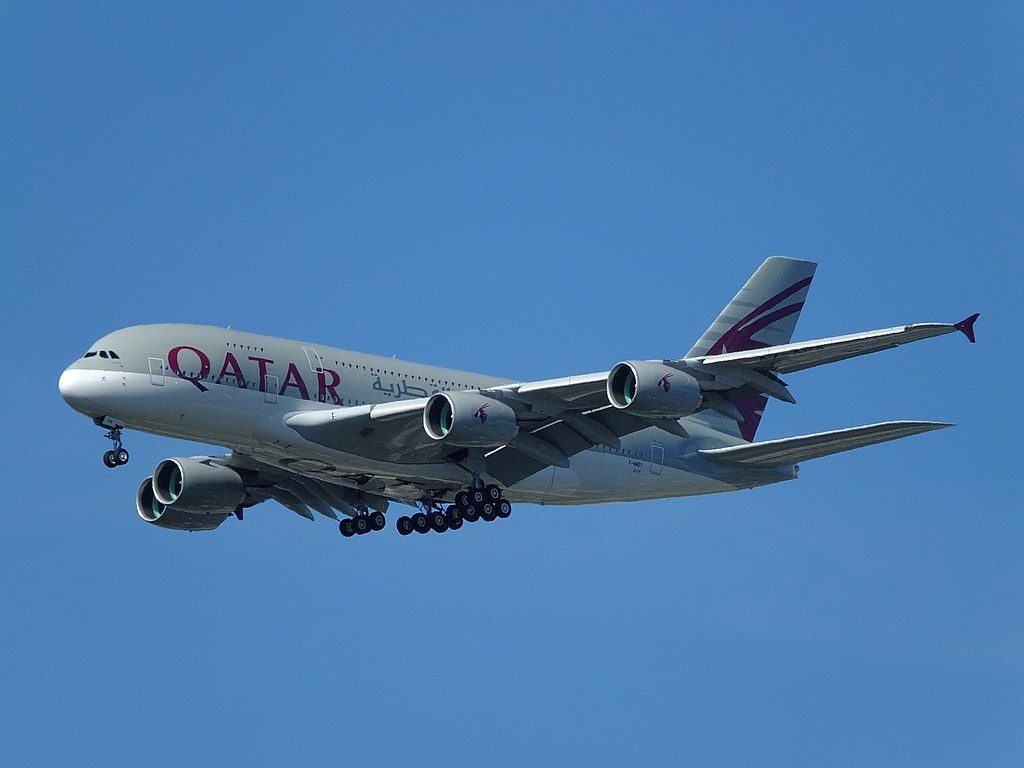 Qatar Airways A7 APA Airbus A380 800 at Hamburg Finkenwerder Airport