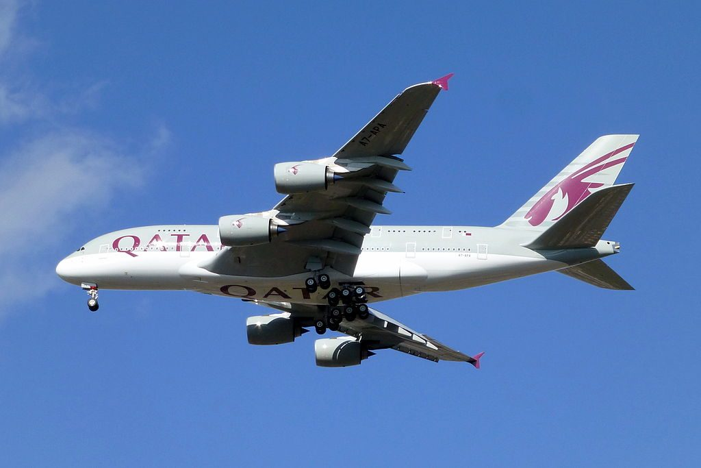 Qatar Airways A7 APA Airbus A380 800 on final approach at London Heathrow Airport