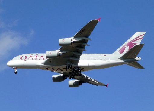 Qatar Airways A7 APA Airbus A380 800 on final approach at London Heathrow Airport