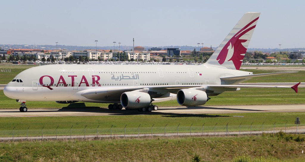 Qatar Airways A7 APH Airbus A380 800 at Toulouse Blagnac Airport