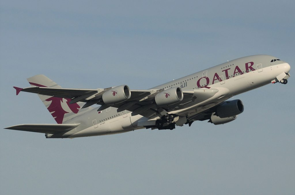 Qatar Airways A7 APH Airbus A380 800 departure from runway 09R at Heathrow