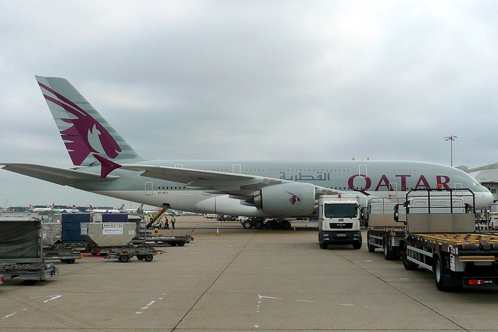 Qatar Airways A7 APJ Airbus A380 800 at London Heathrow Airport