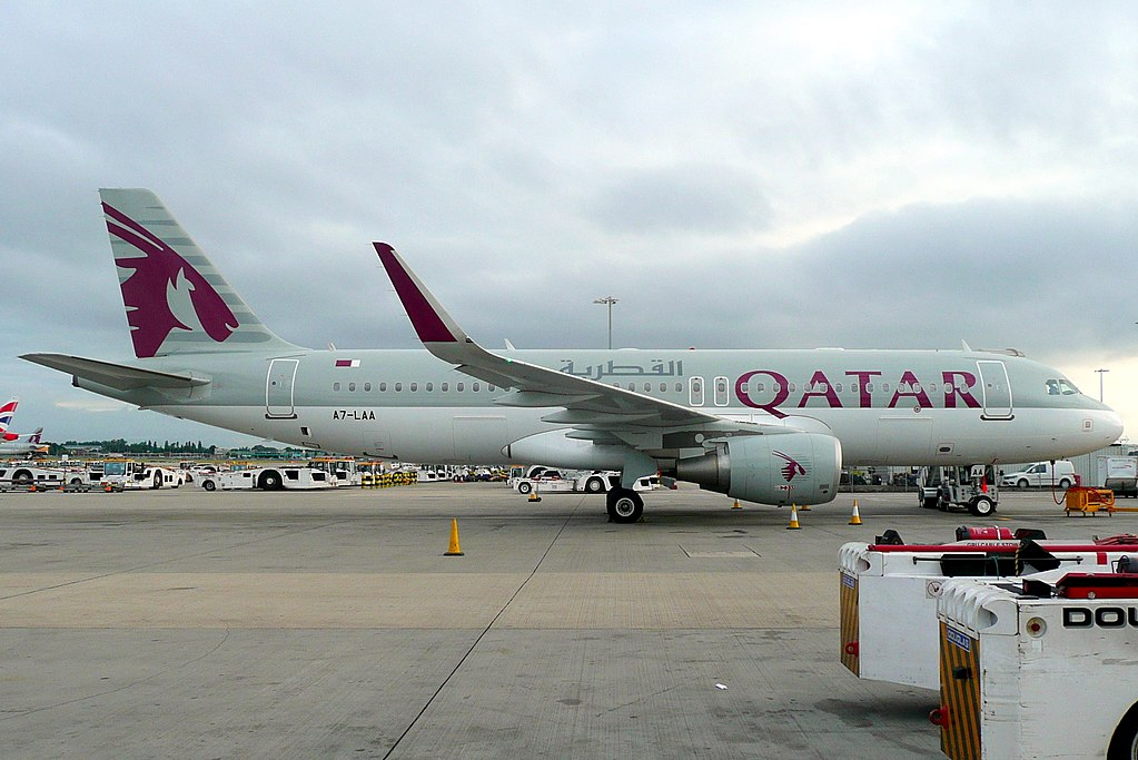 Qatar Airways A7 LAA Airbus A320 200 at London Heathrow Airport
