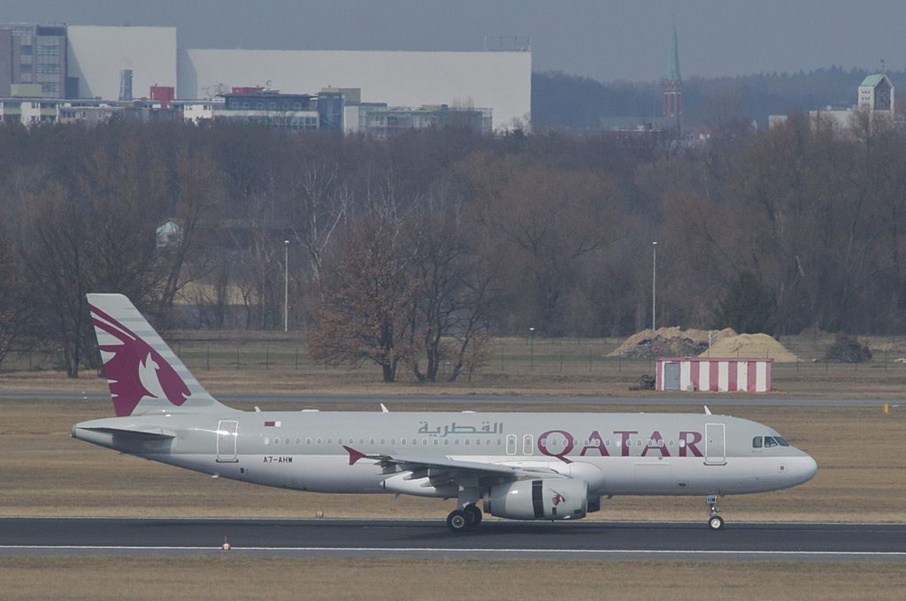 Qatar Airways Airbus A320 232 A7 AHW at Berlin Tegel Airport