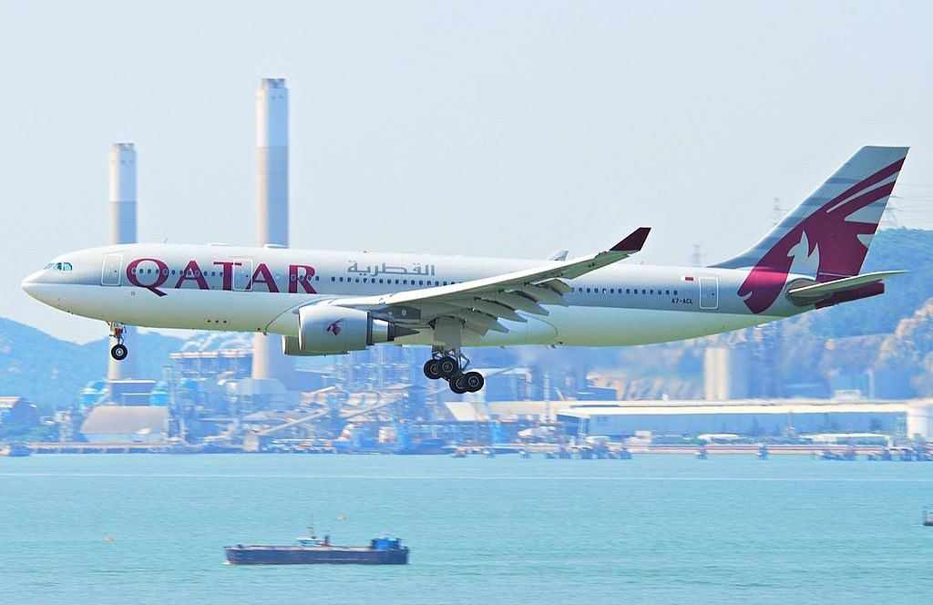 Qatar Airways Airbus A330 200 A7 ACL at Hong Kong International Airport HKG