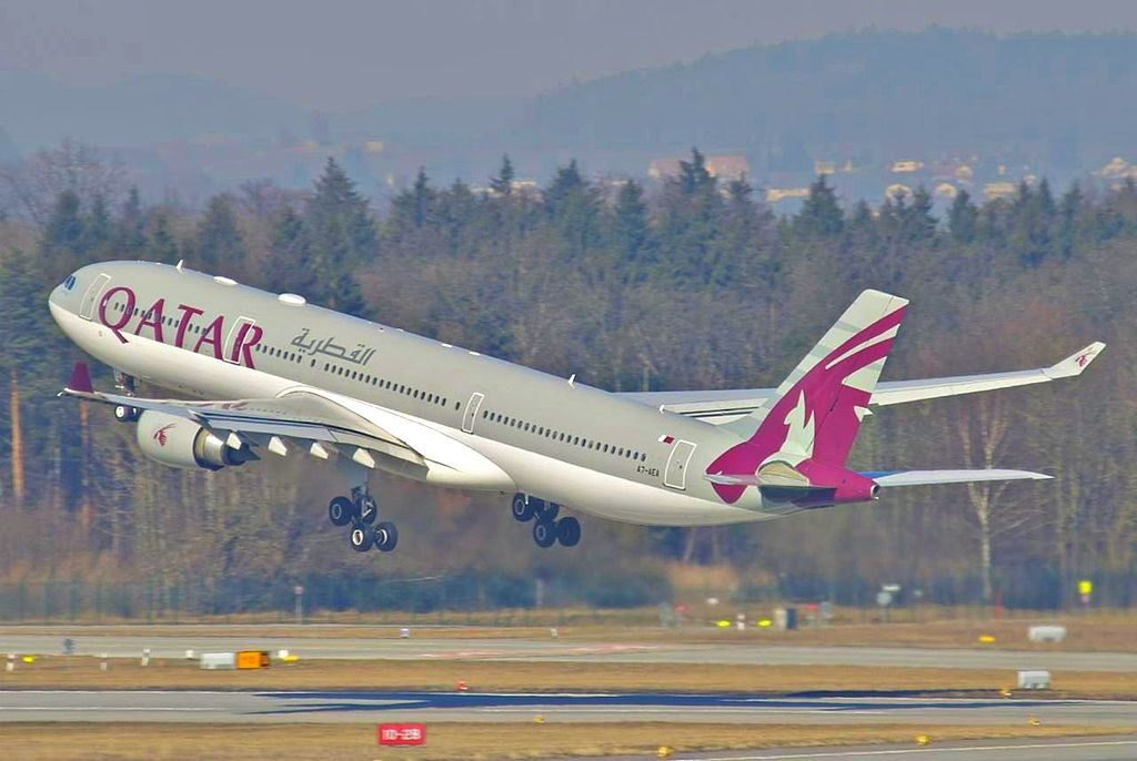 Qatar Airways Airbus A330 300 A7 AEA landing at Zurich International Airport