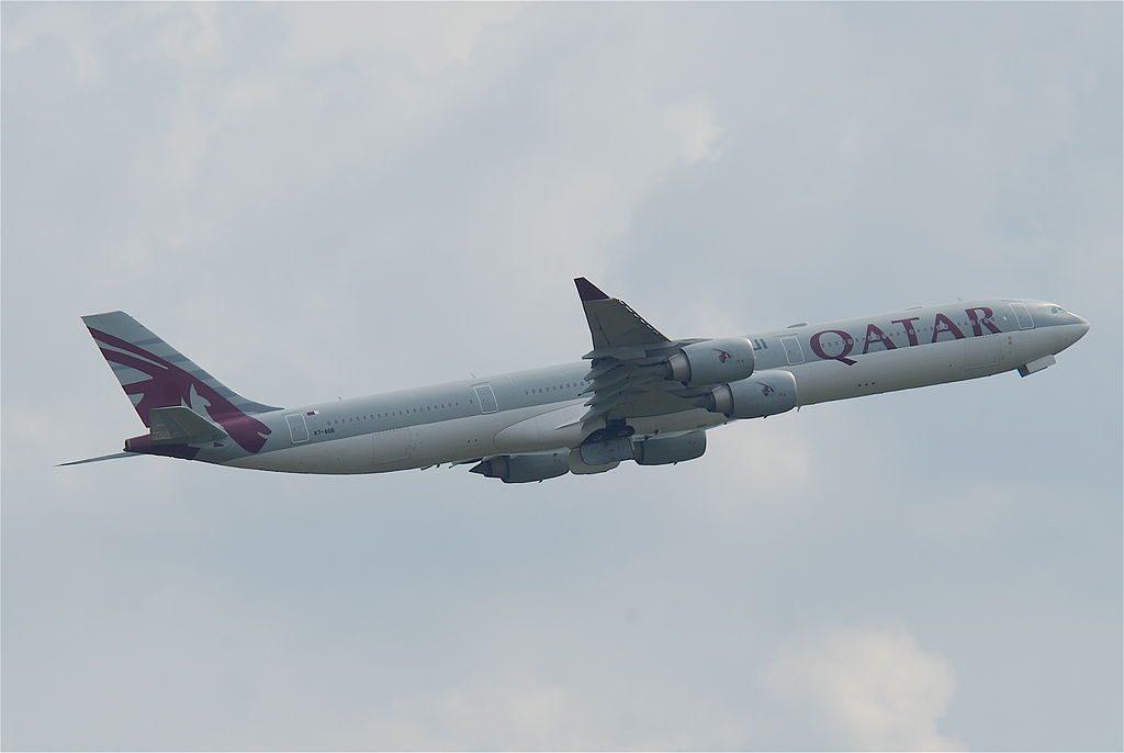 Qatar Airways Airbus A340 600 A7 AGB departing at London Heathrow Airport