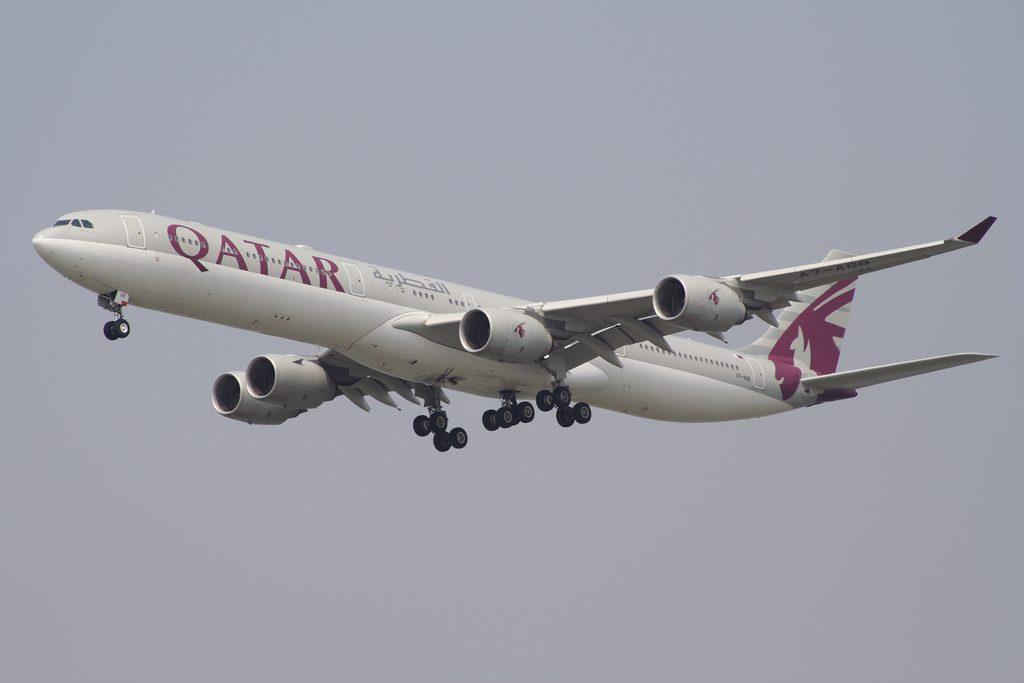 Qatar Airways Airbus A340 642 A7 AGB on final approach at Hong Kong Chek Lap Kok