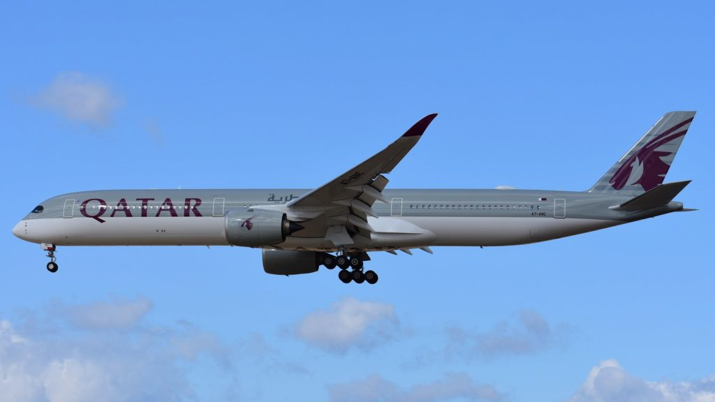 Qatar Airways Airbus A350 1041 A7 ANC on final approach at Frankfurt Airport