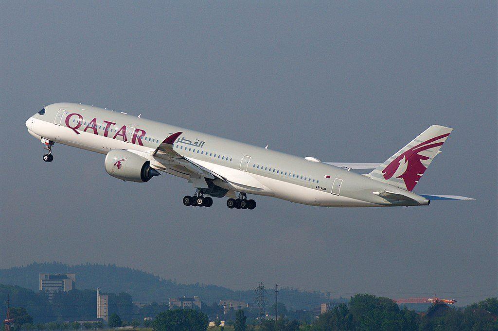 Qatar Airways Airbus A350 900 A7 ALQ Departing ZRH