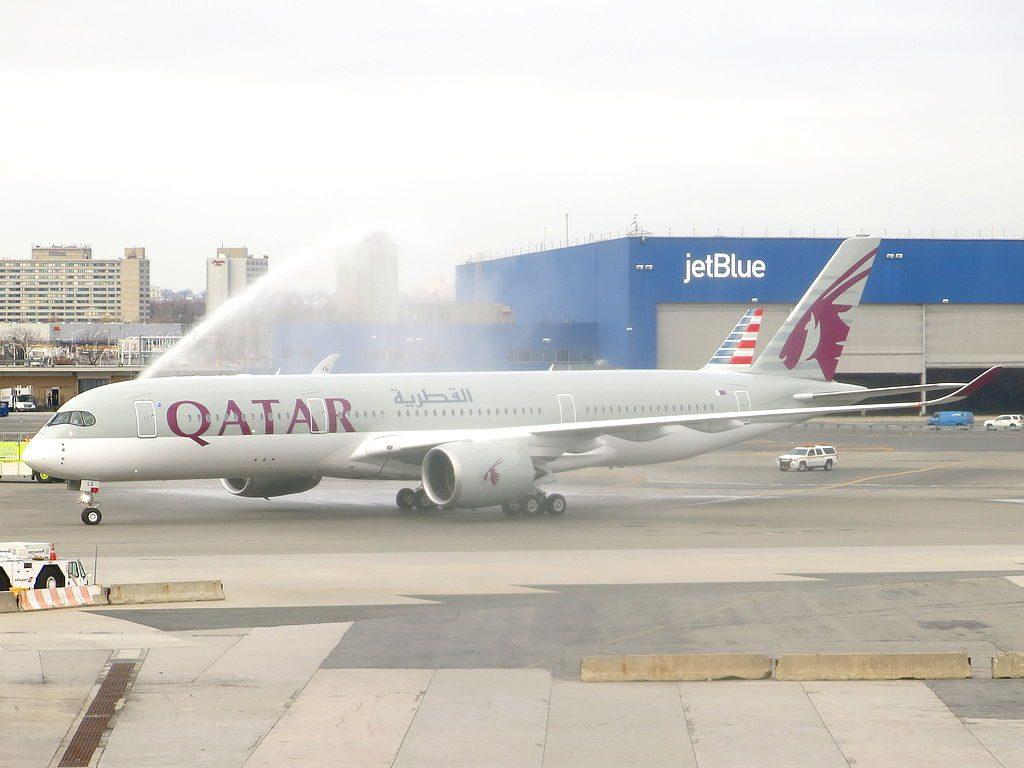 Qatar Airways Airbus A350 941 A7 ALG water salute at JFK Airport
