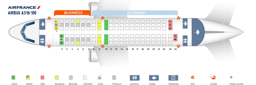 Seat Map and Seating Chart Airbus A318 100 Air France