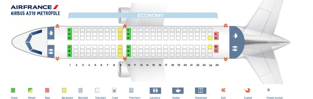 Seat Map and Seating Chart Airbus A319 100 Air France V2 Metropole Single Class Layout