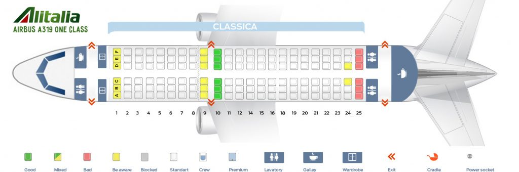 Seat Map and Seating Chart Airbus A319 100 Alitalia One Class Layout