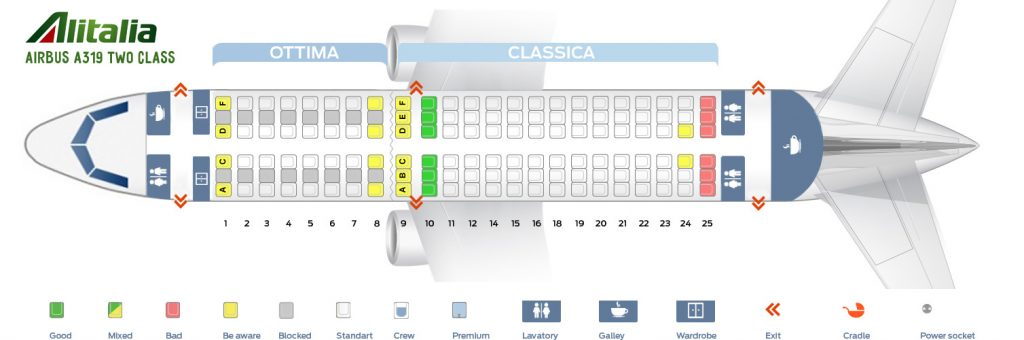 Seat Map and Seating Chart Airbus A319 100 Alitalia Two Class Layout
