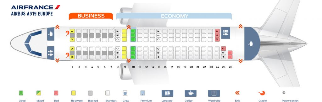 Seat Map and Seating Chart Airbus A319 100 V1 Europe Two Class Layout