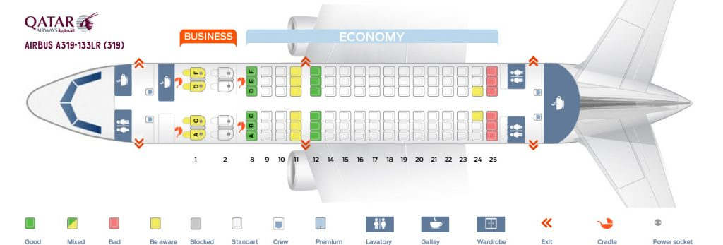 Seat Map and Seating Chart Airbus A319 133LR 319 Qatar Airways Business and Economy