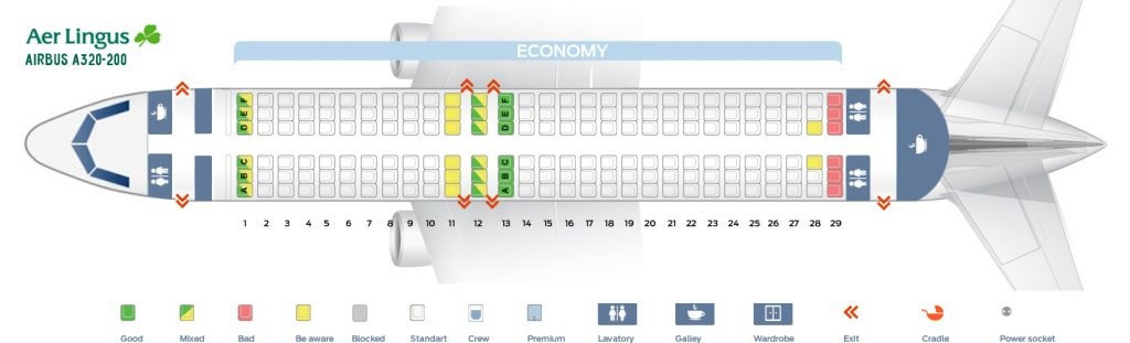 Seat Map and Seating Chart Airbus A320 200 Aer Lingus