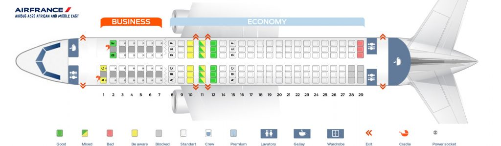 Seat Map and Seating Chart Airbus A320 200 Air France African and Middle East Layout